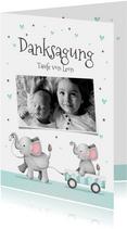 Dankeskarte Taufe kleiner Bruder Elefanten und Herzen