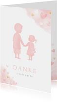 Dankeskarte Taufe rosa großer Bruder und kleine Schwester
