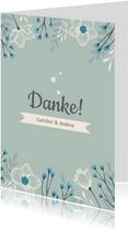 Dankeskarte zum Hochzeitstag blaue Blumen