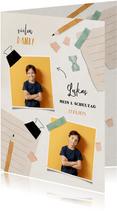 Dankeskarte zur Einschulung Foto, blauer Spitzer & Bleistift