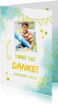 Dankeskarte zur Einschulung Foto & blaugrüne Kleckse