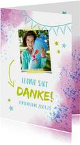 Dankeskarte zur Einschulung Foto & rosablaue Kleckse