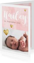 Dankeskarte zur Geburt eigenes Foto rosa Aquarell