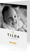Dankeskarte zur Geburt Foto Akzente in Goldlook