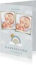 Dankeskarte zur Geburt Regenbogen blau und Fotocollage