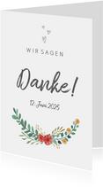 Dankeskarte zur Hochzeit Blumenornamente