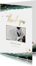 Dankeskarte zur Hochzeit mit Foto in grün und gold