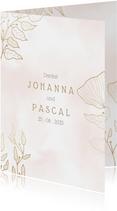 Dankeskarte zur Hochzeit mit Foto und eleganten Blumen