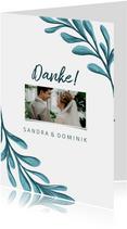 Dankeskarte zur Hochzeit mit Foto und gemalten Zweigen