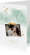 Dankeskarte zur Hochzeit mit Foto und goldenen Herzen