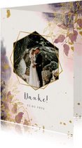 Dankeskarte zur Hochzeit mit Foto und stilvollen Blumen
