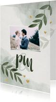 Dankeskarte zur Hochzeit mit Foto, Zweigen und Herzen