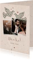 Dankeskarte zur Hochzeit mit Fotos & Tauben natürlicher Look