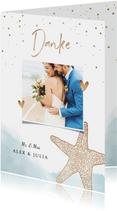 Dankeskarte zur Hochzeit Strandfeeling mit Foto