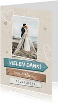 Dankeskarte zur Hochzeit Wegweiser Sommerfeeling