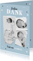 Dankeskarte zur Taufe eigene Fotos blau Bär und Sterne