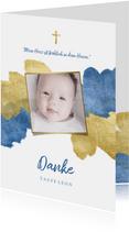 Dankeskarte zur Taufe Foto metallic blau