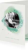 Dankeskarte zur Taufe Foto & Wasserfarbe