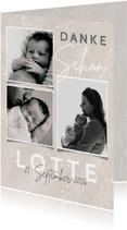 Danksagung Geburt Fotocollage und kleine Zweige