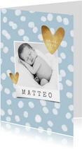 Danksagung Geburt Fotos und Tupfen blau
