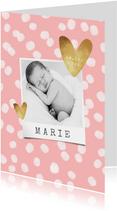 Danksagung Geburt Fotos und Tupfen rosa