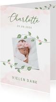 Danksagung Geburtskarte Foto Blumenranken