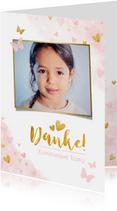 Danksagung Kommunion Goldlook rosa mit Foto & Wasserfarbe