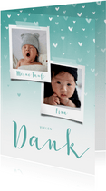 Danksagung Taufe blau Fotos & zuckersüße Herzen