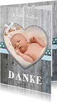 Danksagung Taufe blaue Bänder, Holzlook & Foto