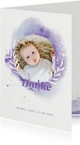 Danksagung Taufe mit Initialen & Wasserfarbe Violett