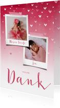 Danksagung Taufe pink Fotos & zuckersüße Herzen