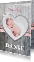 Danksagung Taufe rosa Bänder, Holzlook & Foto