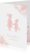 Danksagung Taufe rosa Silhouette kleine & große Schwester