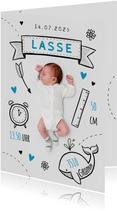 Danksagung zur Geburt Foto mit Doodles blau