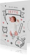 Danksagung zur Geburt Foto mit Doodles rosa