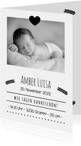 Danksagung zur Geburt Foto Schwarzweiß-Look