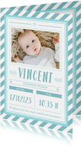 Danksagung zur Geburt Poster grafisch blau mit Foto