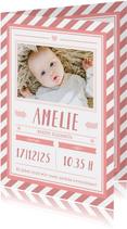 Danksagung zur Geburt Poster grafisch rosa mit Foto