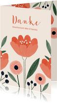 Danksagung zur Rosenhochzeit Rose und Blumen
