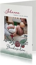 Danksagung zur Taufe mit Taube und Rosen
