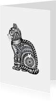 Dierenkaart Kat zwart-wit illustratie