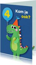 Dino met ballon kinderfeestje