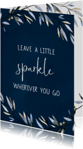 Donkerblauwe kerst- en nieuwjaarskaart Sparkle
