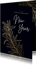 Donkerblauwe stijlvolle nieuwjaarskaart met gouden tak