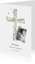 Doopkaart met botanisch kruis en foto