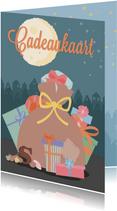 Een cadeaukaart met een tekening van de zak van sinterklaas.
