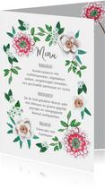 Een fris botanische menukaart met bloemen