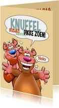 Een grappige verjaardagskaart met leuke beren en knuffel