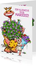Een hele grappige verjaardagskaart met giraf en muisje