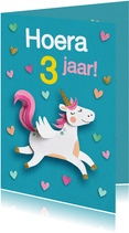Eenhoorn en hartjes verjaardagskaart